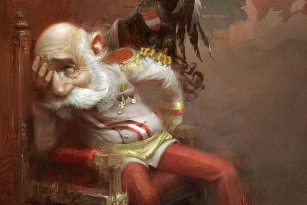 Karikatur von Franz Josef I, sitzend auf Throne