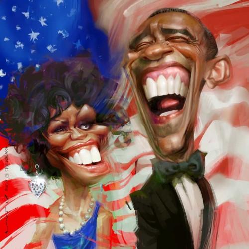 Karikatur von U.S. President Obama und seine Frau, Michelle, gezeichnet vom Karikaturist Xi Ding