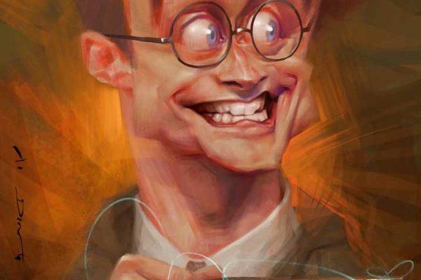 Karikatur Daniel Radcliffe als Harry Potter