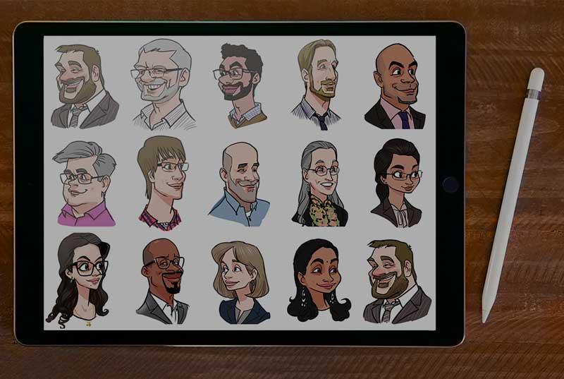 Digital Karikatur auf iPad