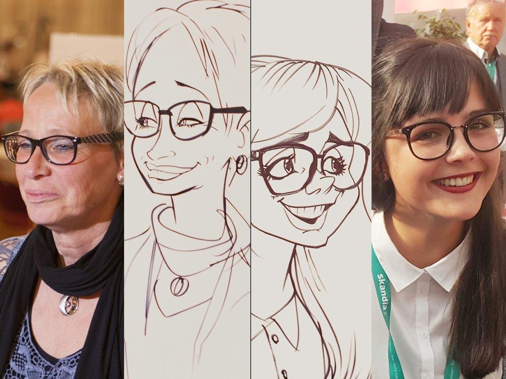 Seine Kunst der Portraitkarikatur