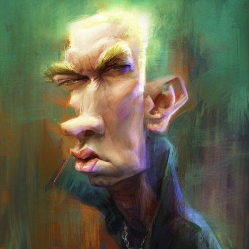 Karikatur Eminem, Digital-Ölmalerei