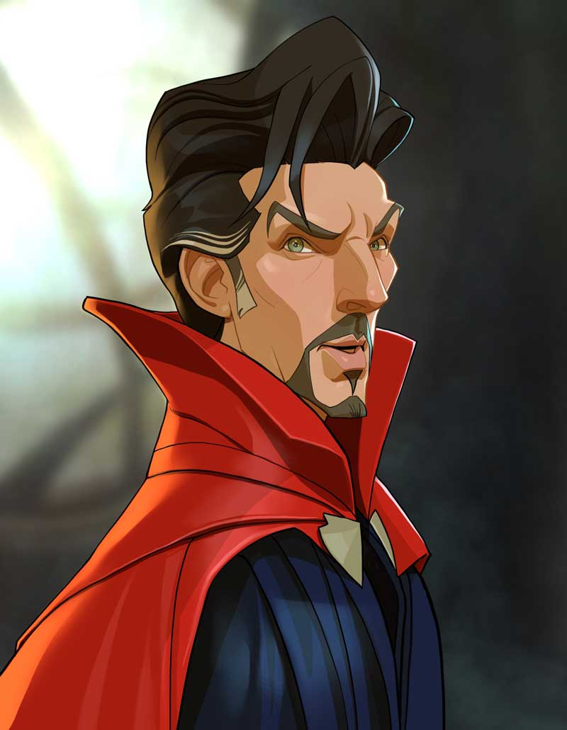 Dr Strange Caricature Cartoon by Xi Ding