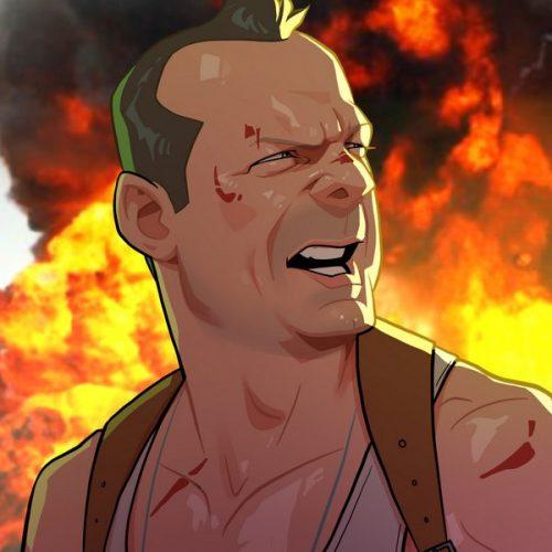 Karikatur Die Hard Bruce Willis
