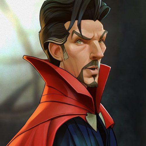 Karikatur Benedict Cumberbatch als Dr. Strange