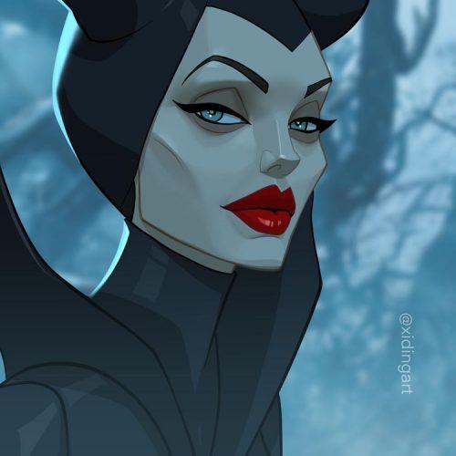 Karikatur von Angelina Jolie als Malificent