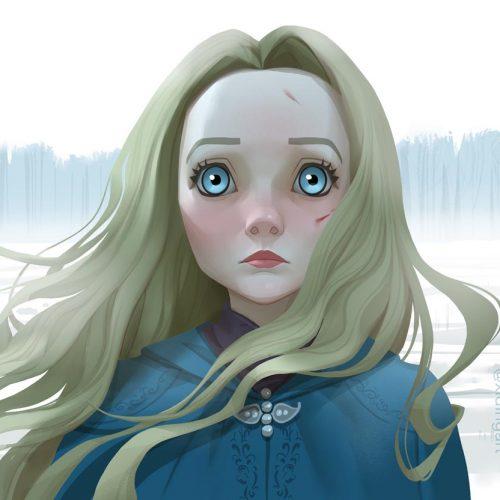 Karikatur von Freya Allan als Prinzessin Cirilla