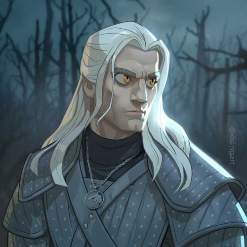 Karikatur Witcher Gerald of Rivia