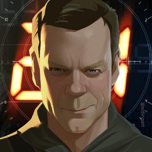 Karikatur Kiefer Sutherland als Jack Bauer