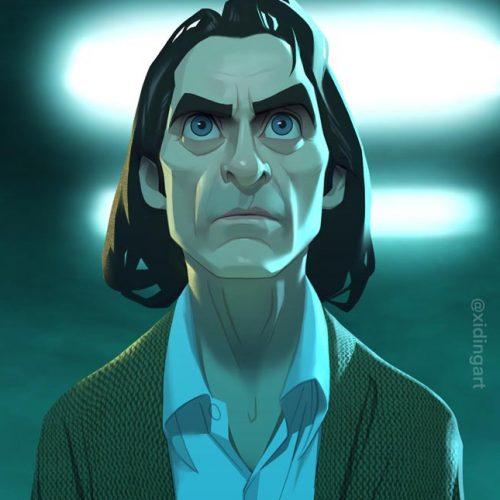 Karikatur Joaquin Phoenix als Joker